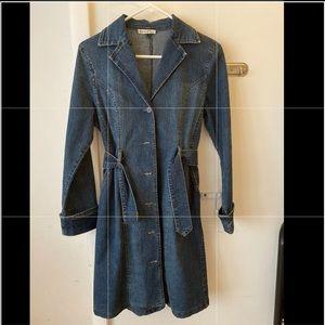 Women petite - jean long jacket coat - blue